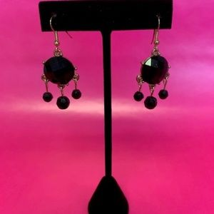 BLACK & GOLD DANGLE EARRINGS